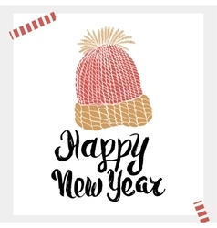 Happy new year - holiday unique handwritten vector