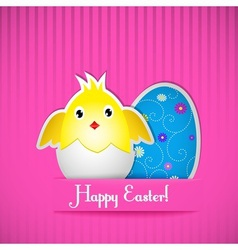 Easter card with chicken and egg vector