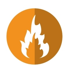 Hot flame spurts fire design yellow circle vector