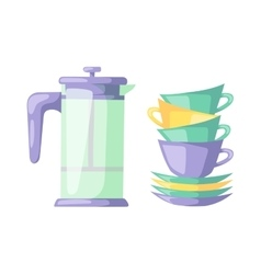 Clean cups dishware vector