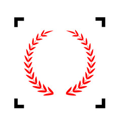 Laurel wreath sign  red icon inside black vector