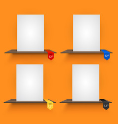 Book shelves with lables on orange background vector
