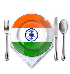 A plate with an indian flag vector
