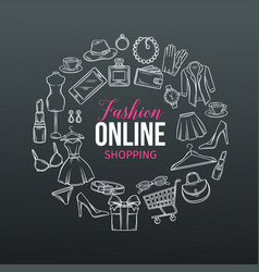 Hand drawn set of online fashion shopping icons vector