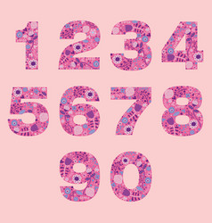 Number floral pink cute decorative elements vector