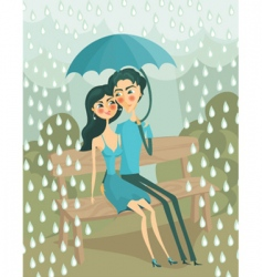 couple in the rain vector image