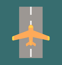 Icon in flat design for airport airplane runway vector
