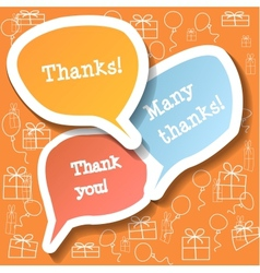 Retro clouds thank you speech vector