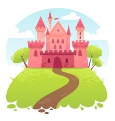 Cute cartoon medieval castle vector
