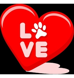 Love symbol with pet paw in a hart shape vector
