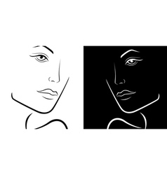 Black and white female laconic heads outline vector