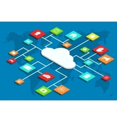 3d isometric computer cloud infographic vector image