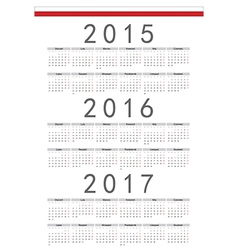 Polish rectangle calendars 2015 2016 2017 vector