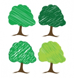 Sketchy trees vector