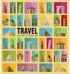 Travel set of elements - italy usa america new vector
