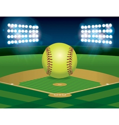 Softball on stadium field vector