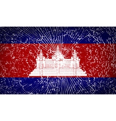 Flags cambodia with broken glass texture vector