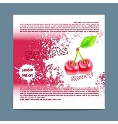 Template candy packaging cherry sweets vector