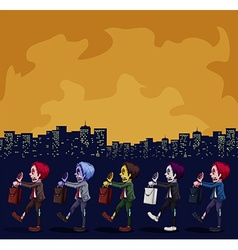 Zombies walking in the city at night vector