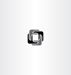 Abstract black square logo business icon vector