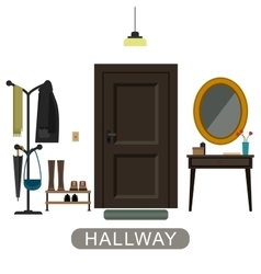 Hallway interior with door vector
