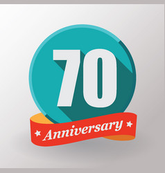 70 anniversary label with ribbon vector image
