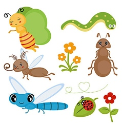 Set funny insects vector image