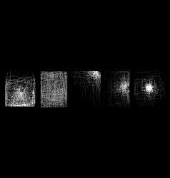 a set of textures of white scratches on black vector image vector image