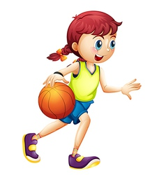 A young girl playing basketball vector image vector image