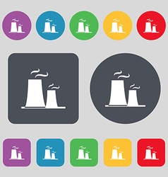 Atomic power station icon sign a set of 12 colored vector