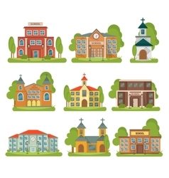 Building school church icon set vector