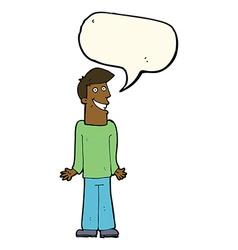 Cartoon man shrugging shoulders with speech bubble vector