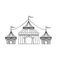 circus tent tops outline stripes flag on top vector image  sc 1 st  VectorStock & Circus tent tops outline stripes flag on top Vector Image