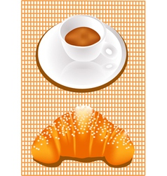 coffee and croissants vector image vector image