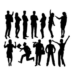 Creative business people standing silhouettes vector