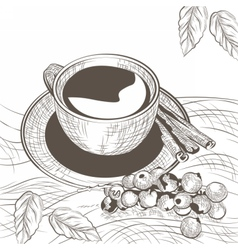 Cup of coffee with cinnamon and berry vector image vector image
