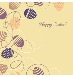 Easter multicolor eggs on yellow background vector image