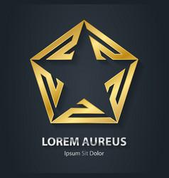 Gold star logo Award golden 3d icon Metallic vector image vector image