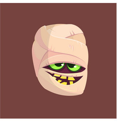 happy halloween head mummy vector image vector image