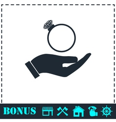 Male hands holding engagement ring icon flat vector
