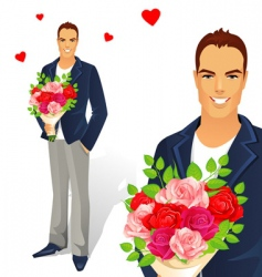 man with bouquet vector image vector image