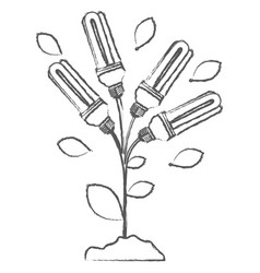 monochrome sketch with plant stem with leaves and vector image