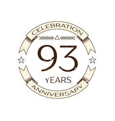 ninety three years anniversary celebration logo vector image vector image
