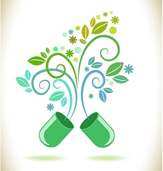 Opened green color pill with leaf vector image vector image