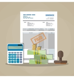 paper invoice paid stamp calculator cash money vector image vector image