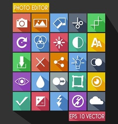Photo Editor Flat Icon Long Shadow vector image vector image