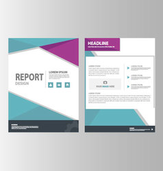 Purple blue brochure flyer leaflet annual report vector