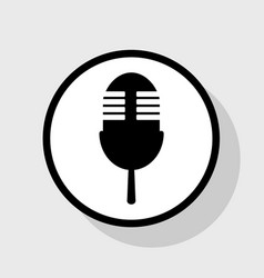 Retro microphone sign flat black icon in vector