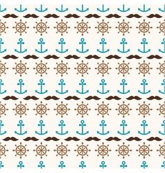 seamless pattern of anchors wheels and mustache vector image