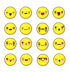 set of emoticons smiles set of emoji flat design vector image vector image